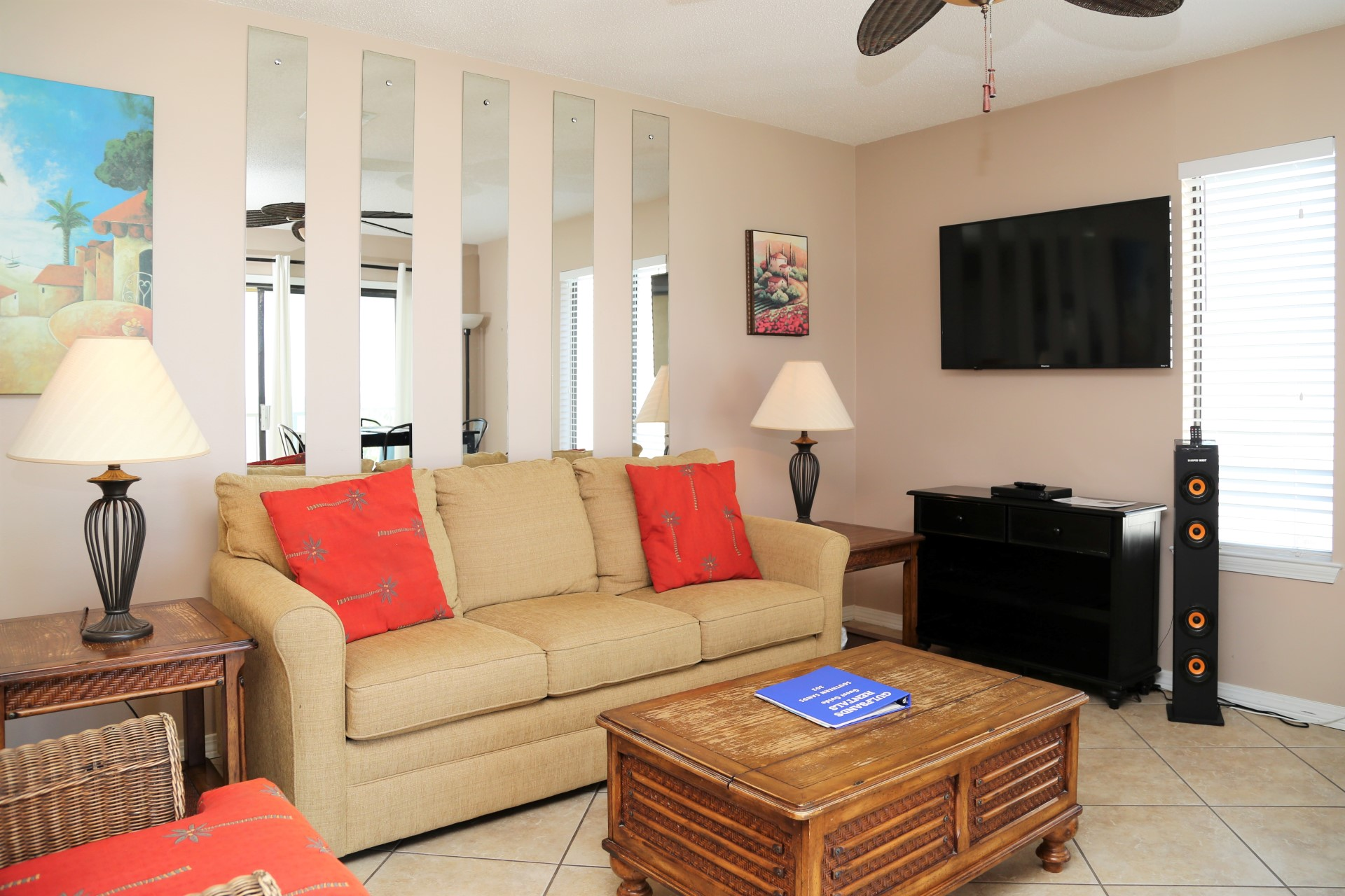 The living room features a 40 inch, flat screen, cable TV w/