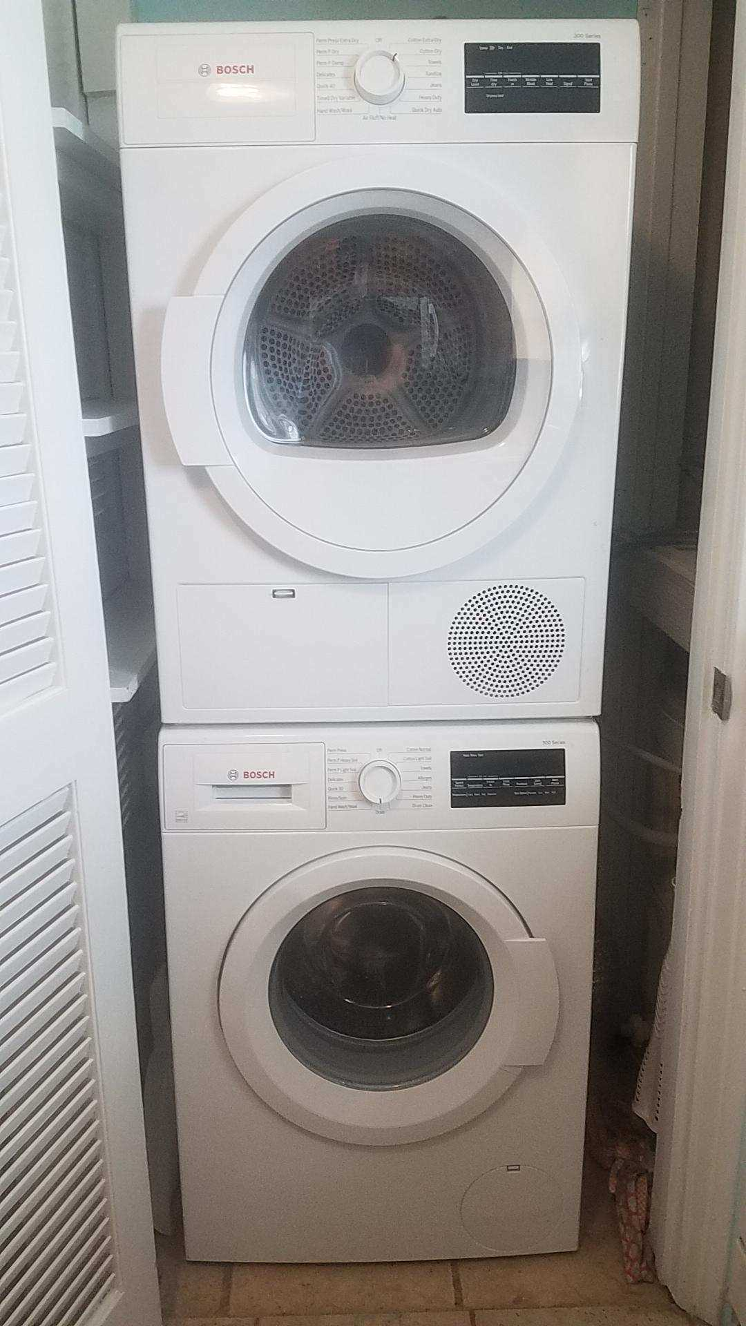 New HE Bosch Washer/Dryer stack