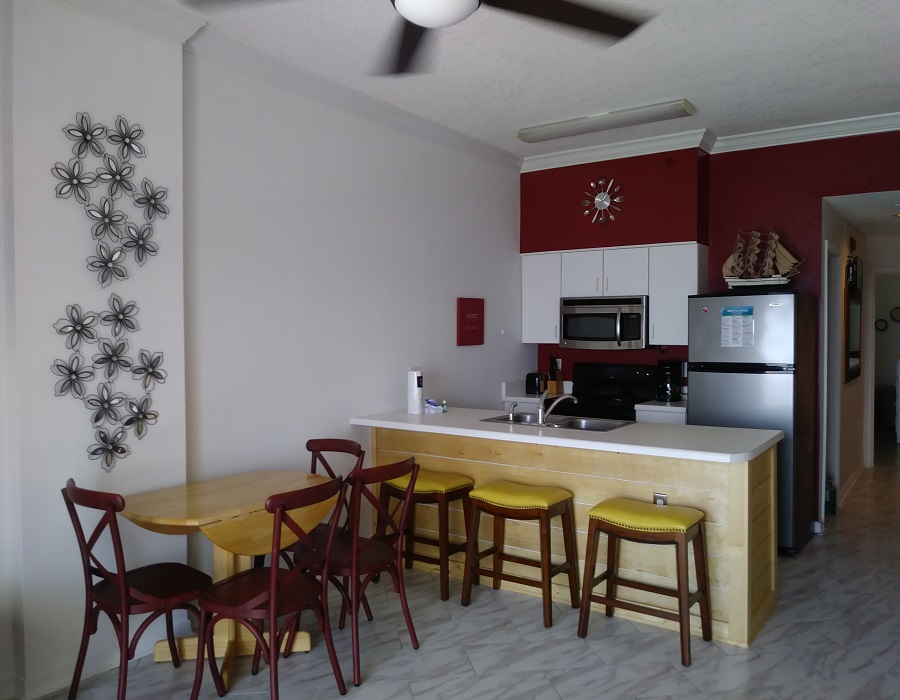 Dining area with bar seating!