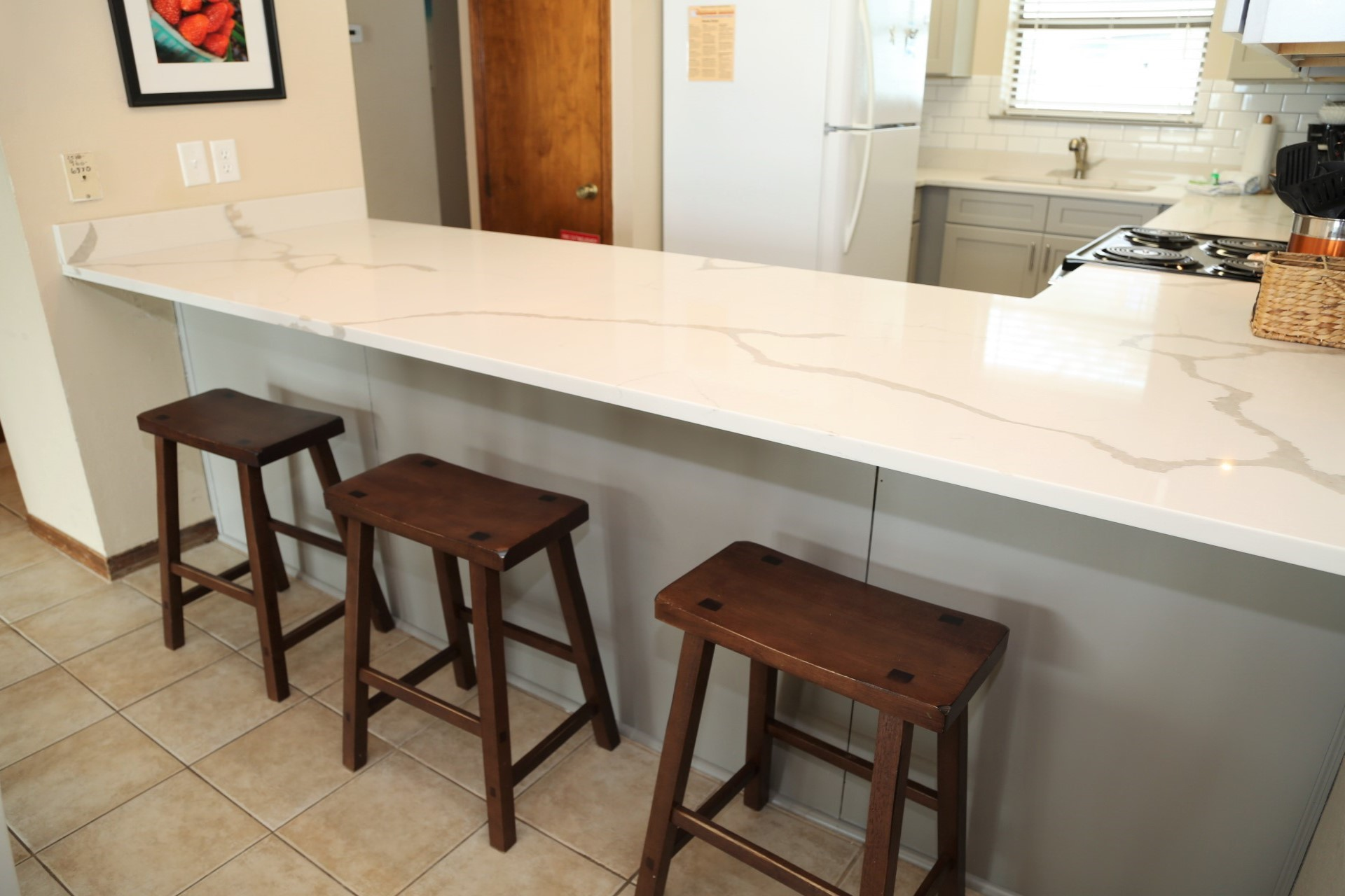 Bar seating in the dining area.
