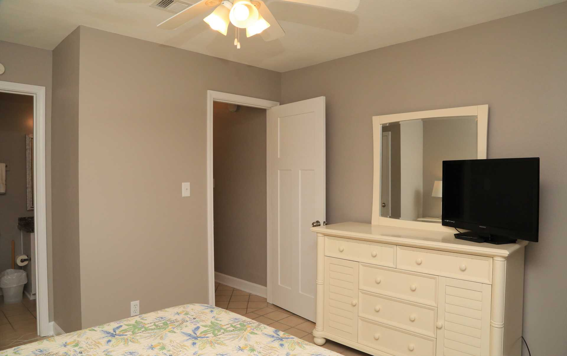 The master bedroom was reconfigured to create access to the