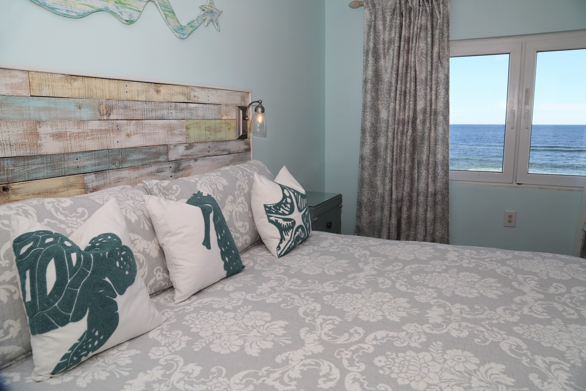 Wake up to the refreshing views of the coastal water while e