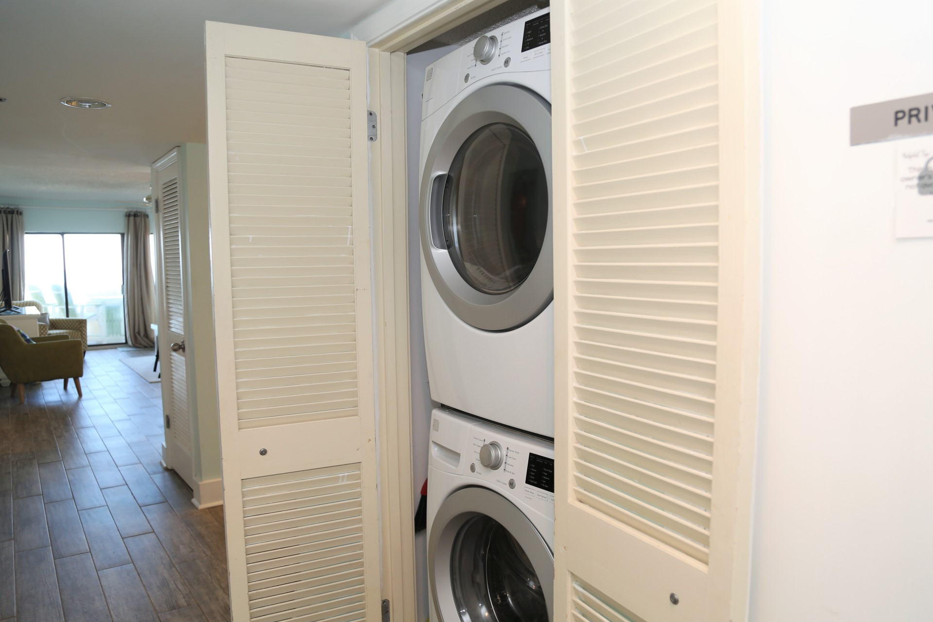 Enjoy the convenience of a large-sized washer and dryer in y