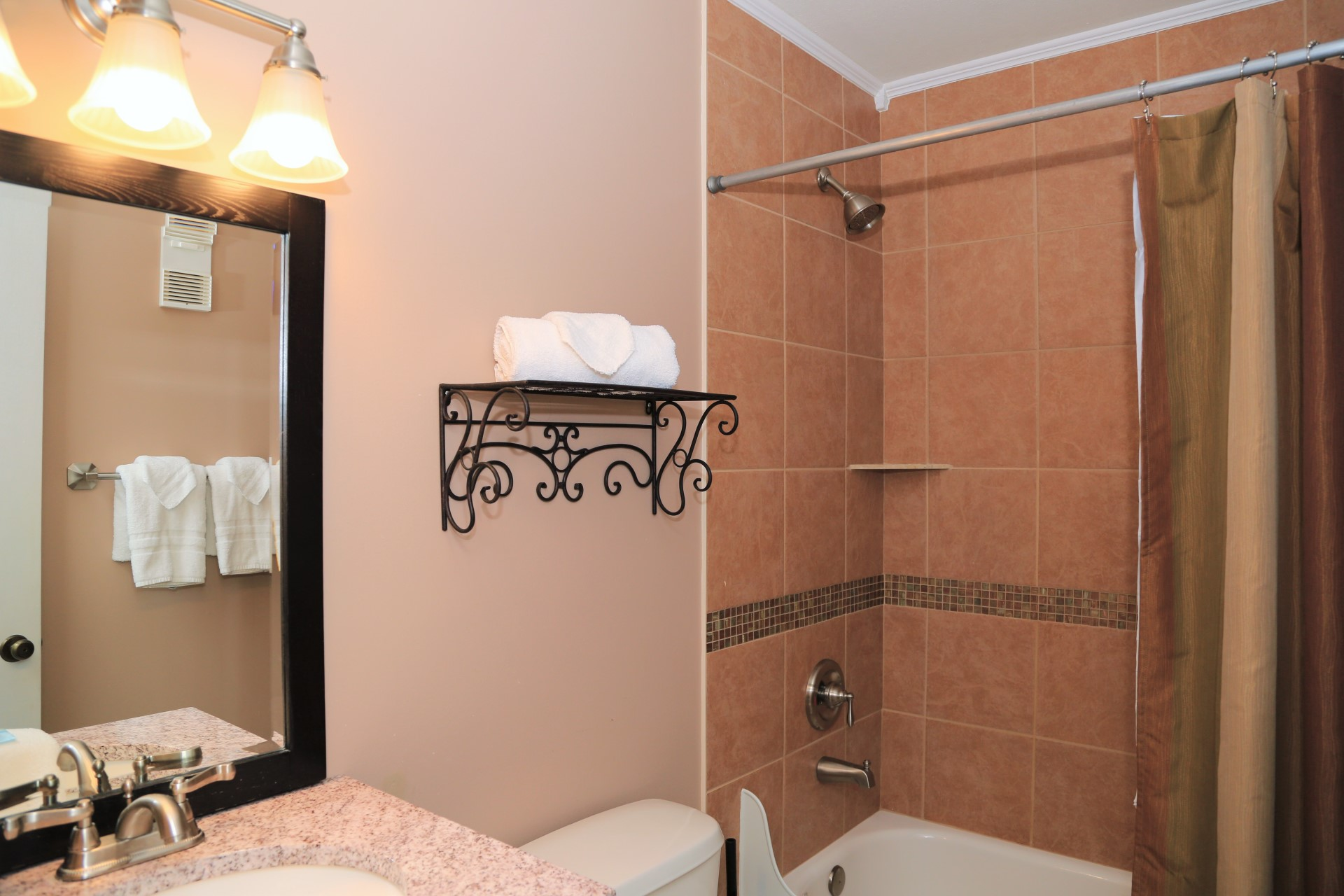 Renovated second bathroom is ready for your arrival with sta