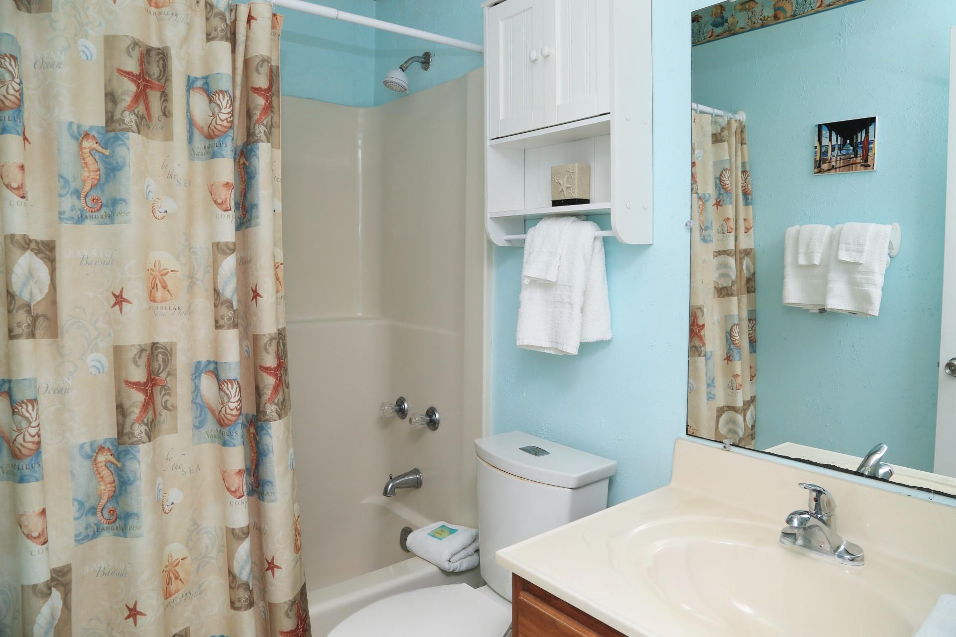 Hallway bathroom - shower/tub combo and comfort height toile