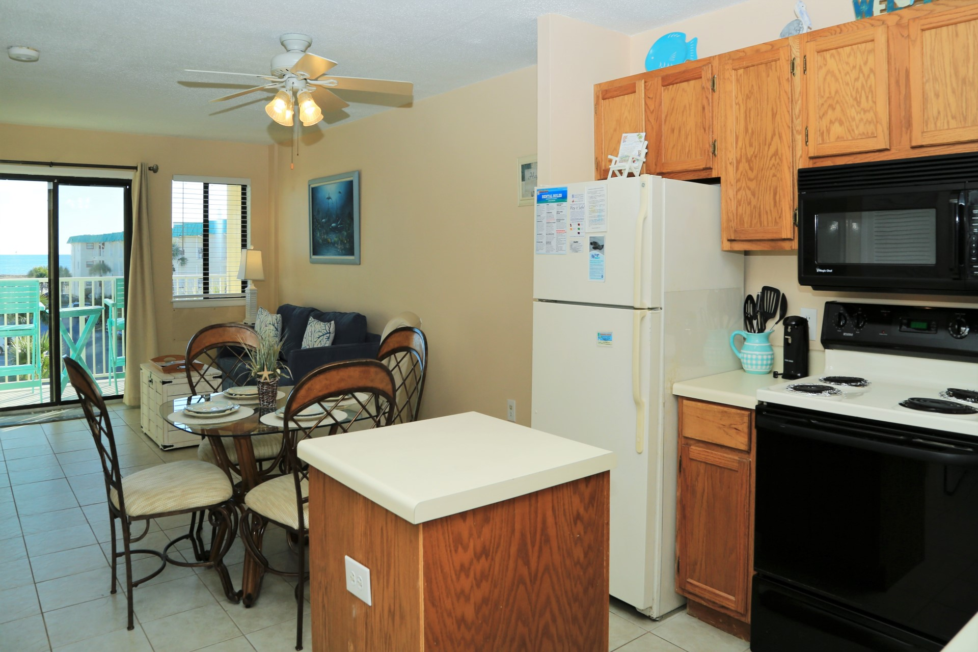Open kitchen / dining / living space.