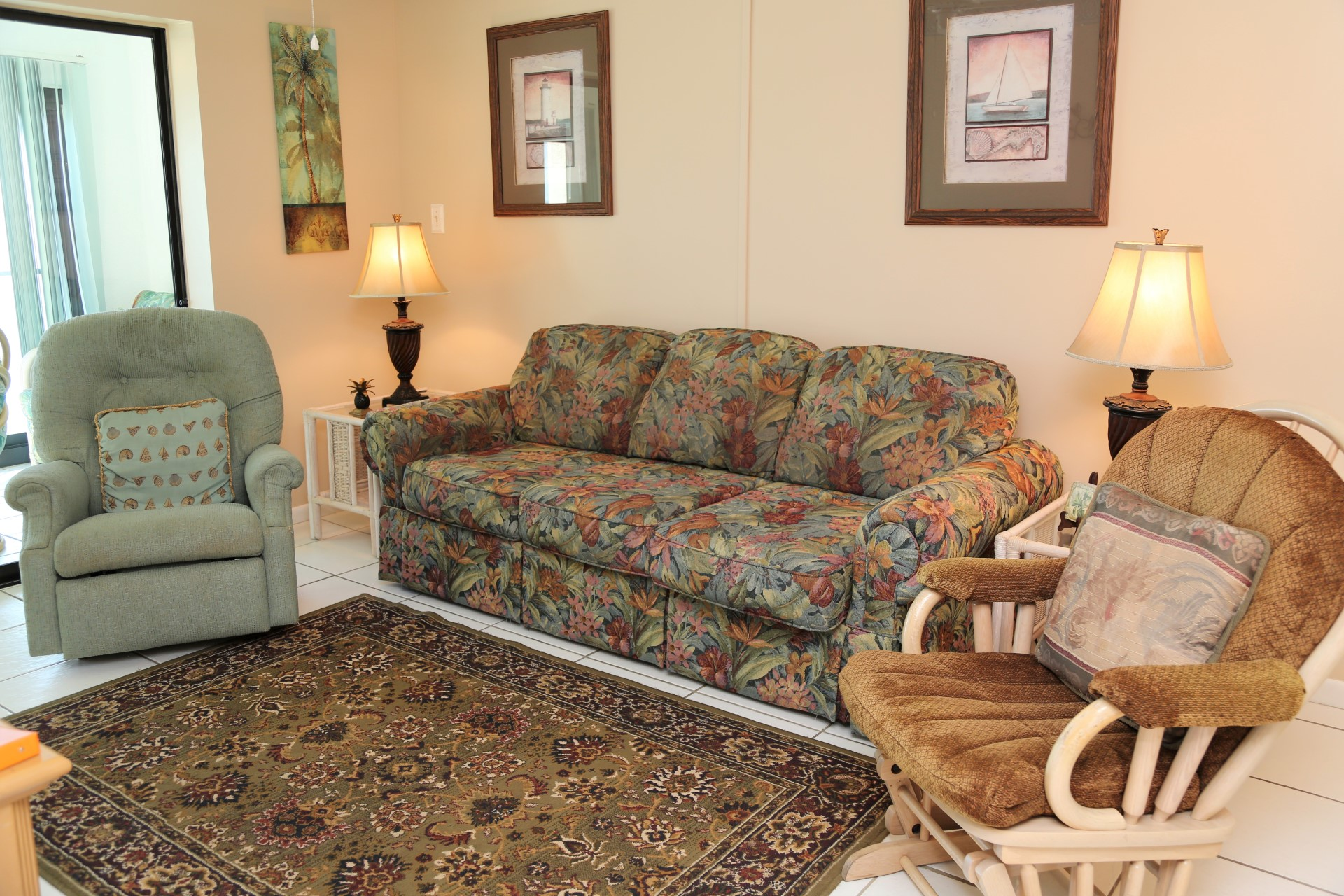 Plenty of seating available in the living room.