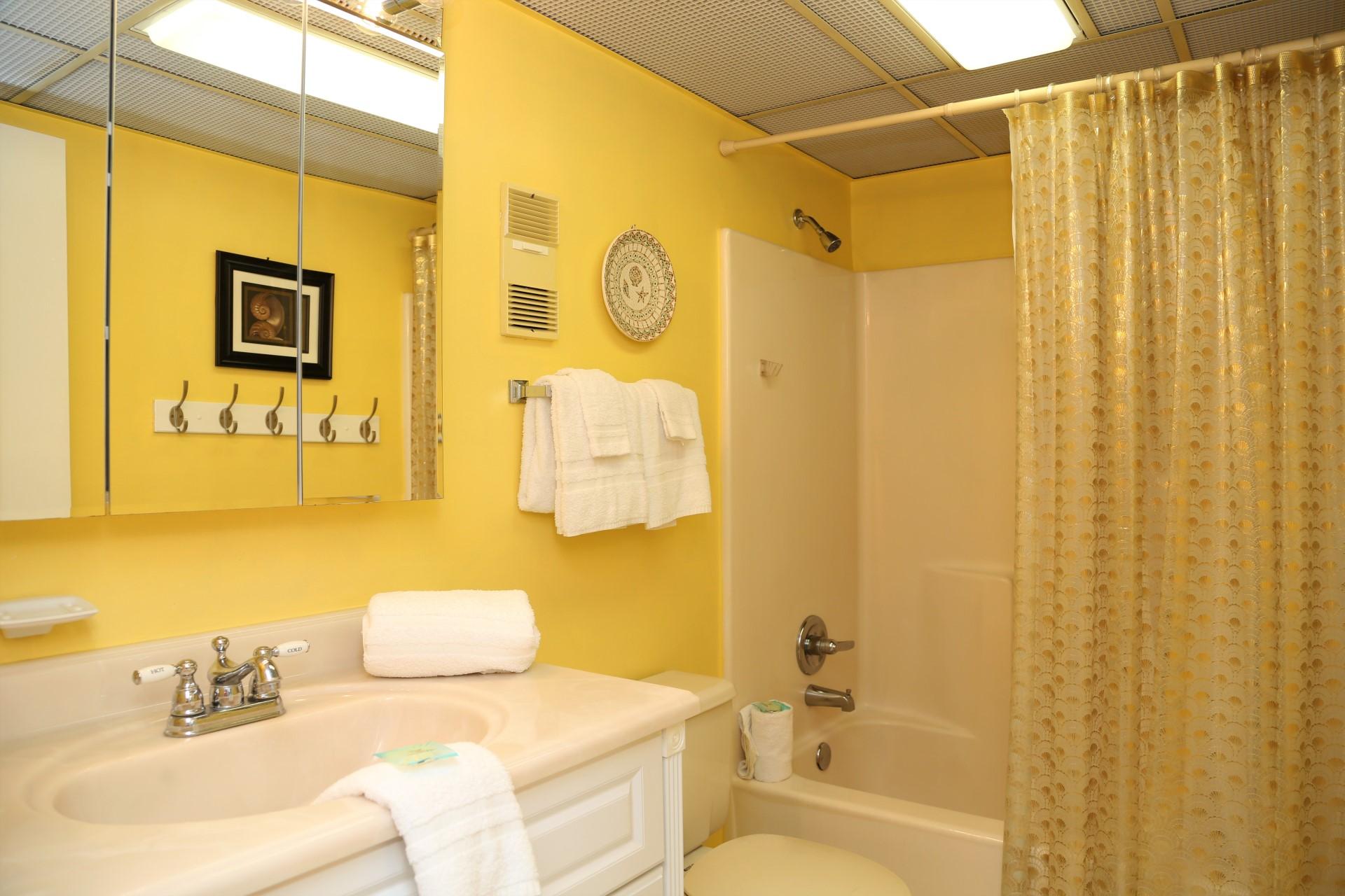 Master bathroom includes shower/tub combo.