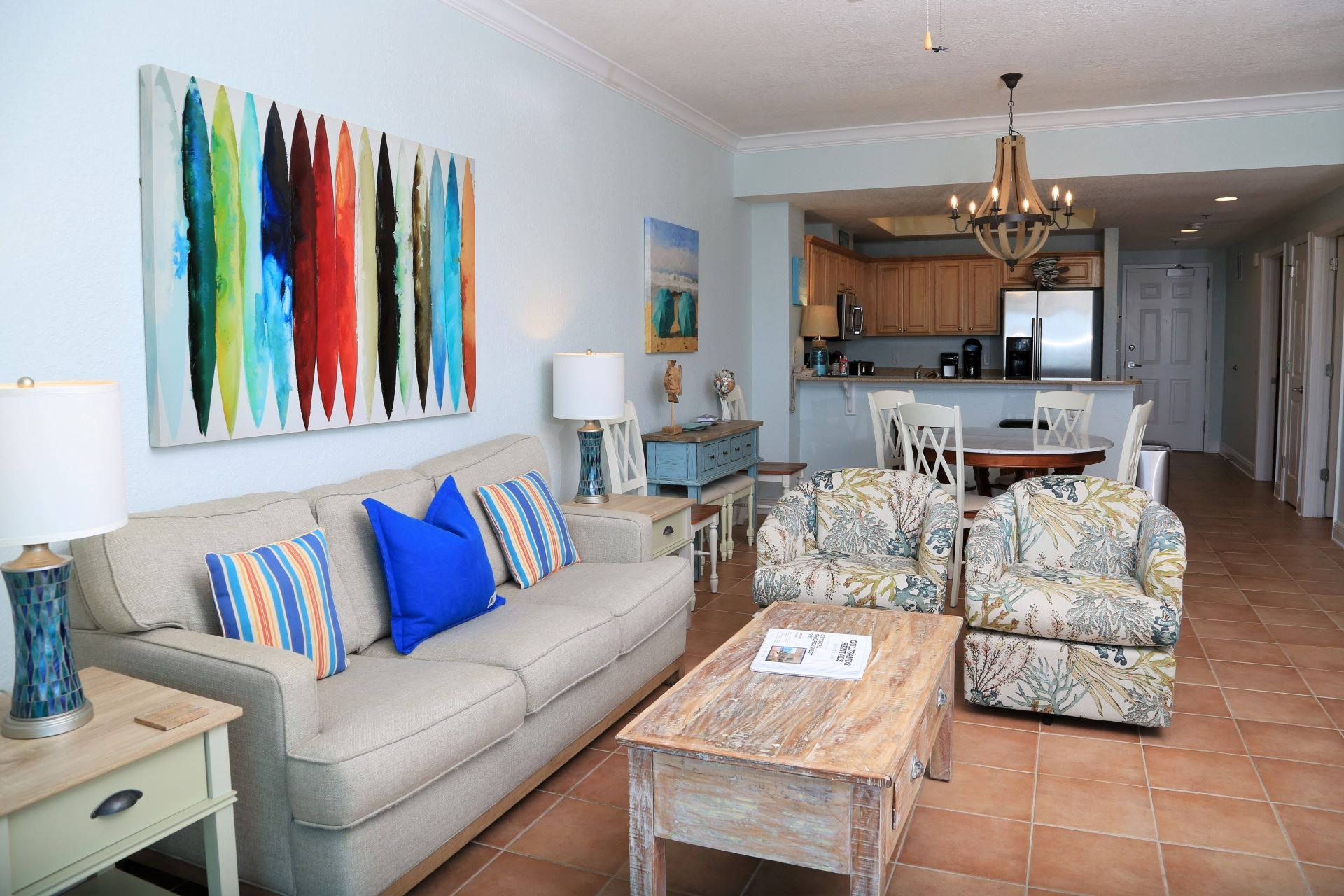 Crystal Shores West 905 - Living Room - TV and access to bal