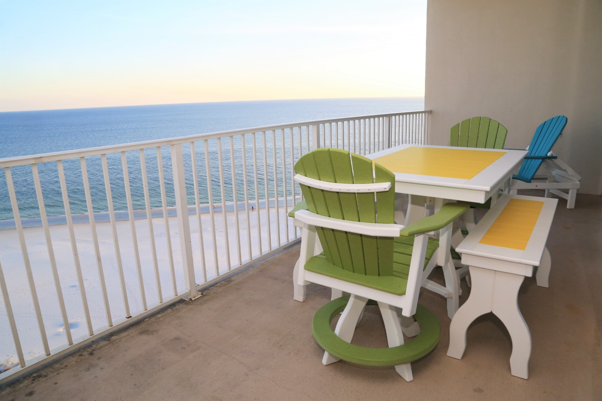 The gulf front balcony includes ample space and plenty of se