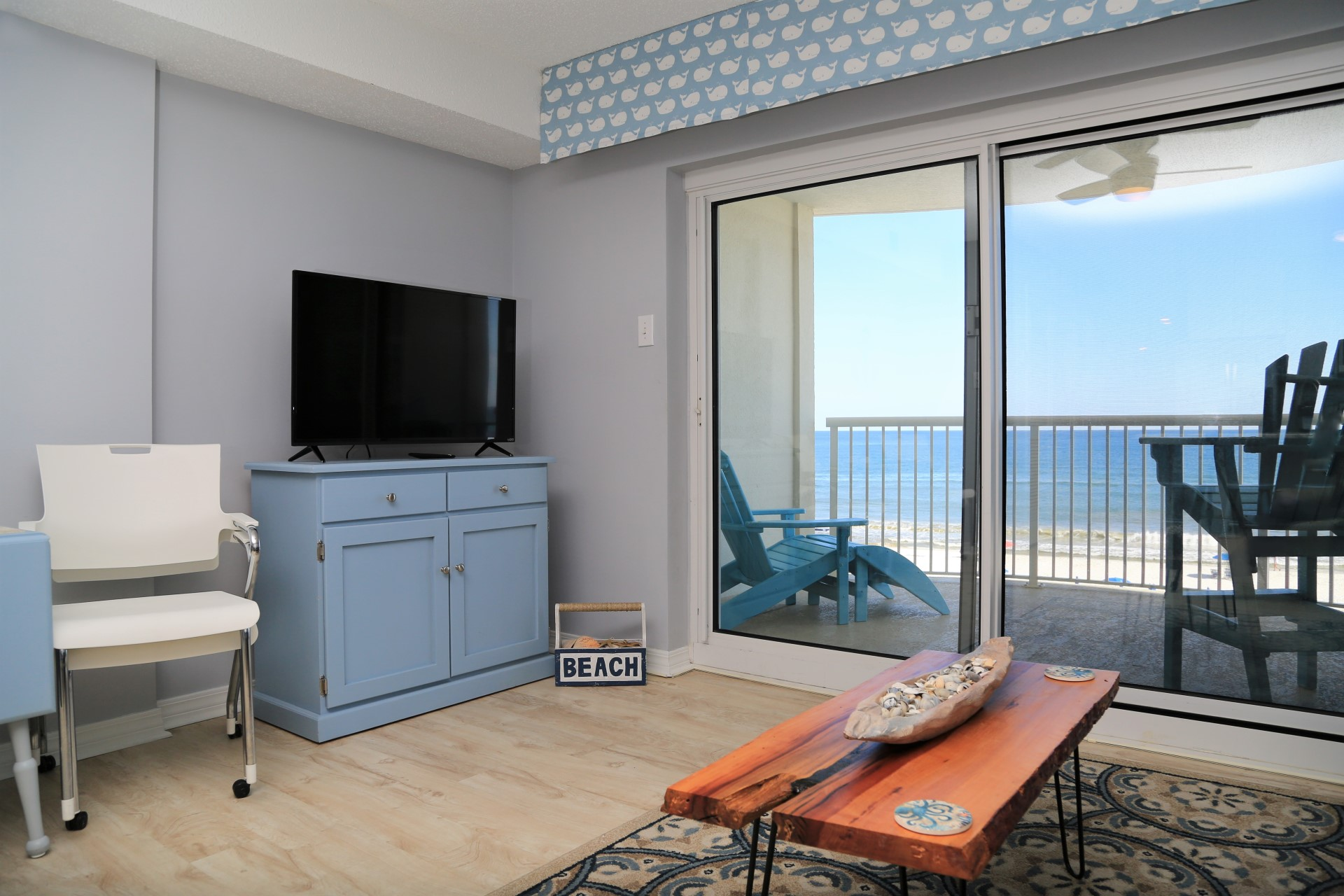 The living room includes a SMART cable TV and amazing views!