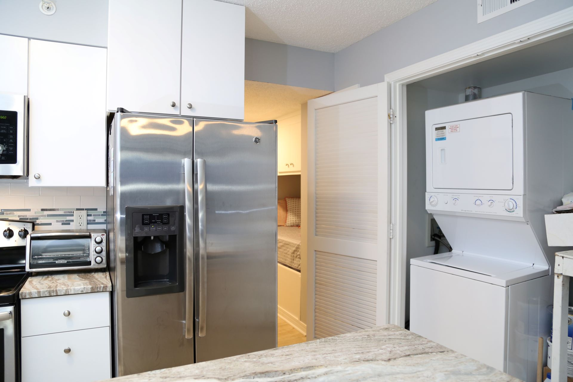 The washer/dryer is a great convenience for keeping up with