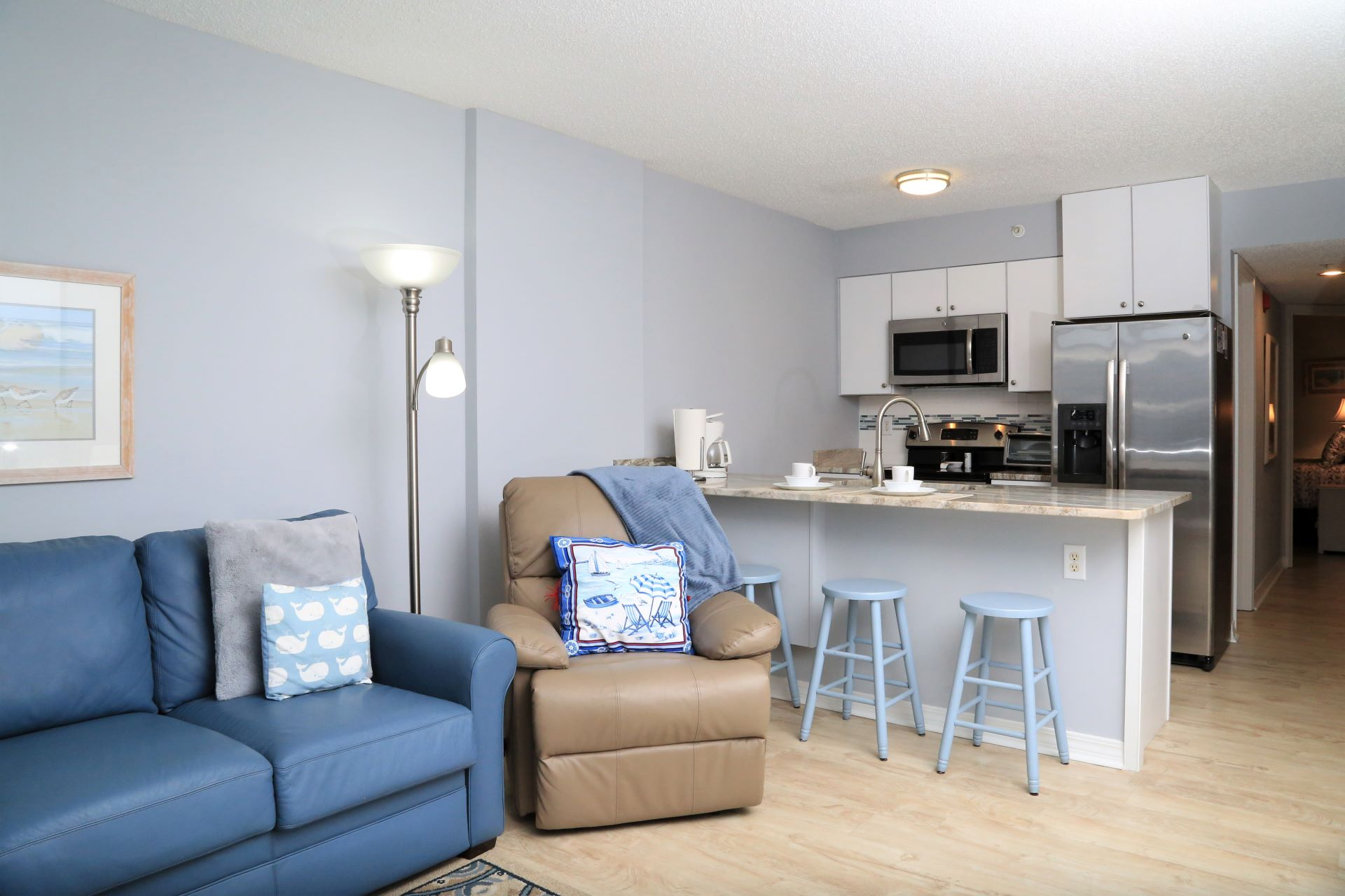 Open living / dining / kitchen.