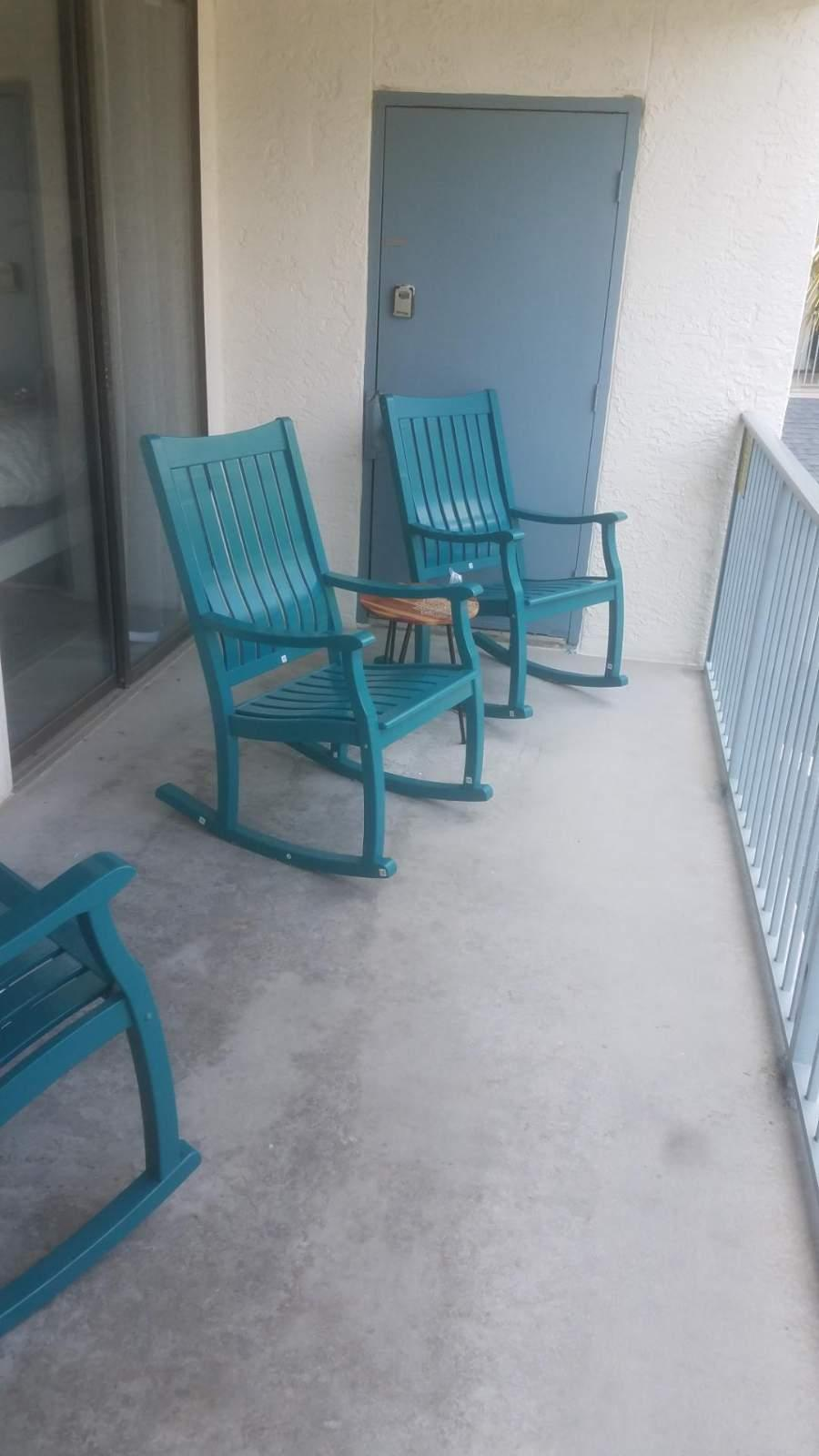 Your private balcony offers outdoor seating.