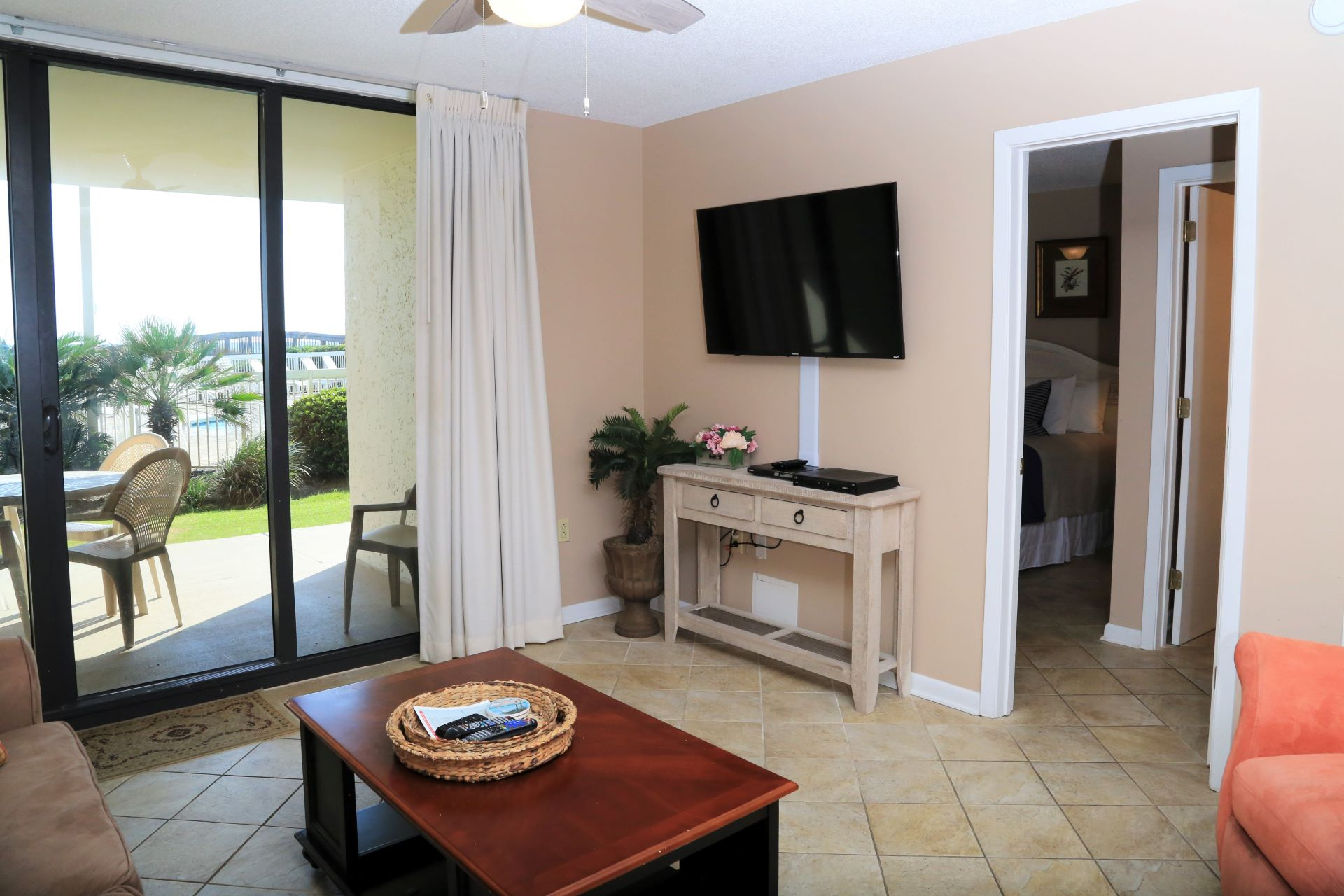 The living room has direct access to the private balcony.