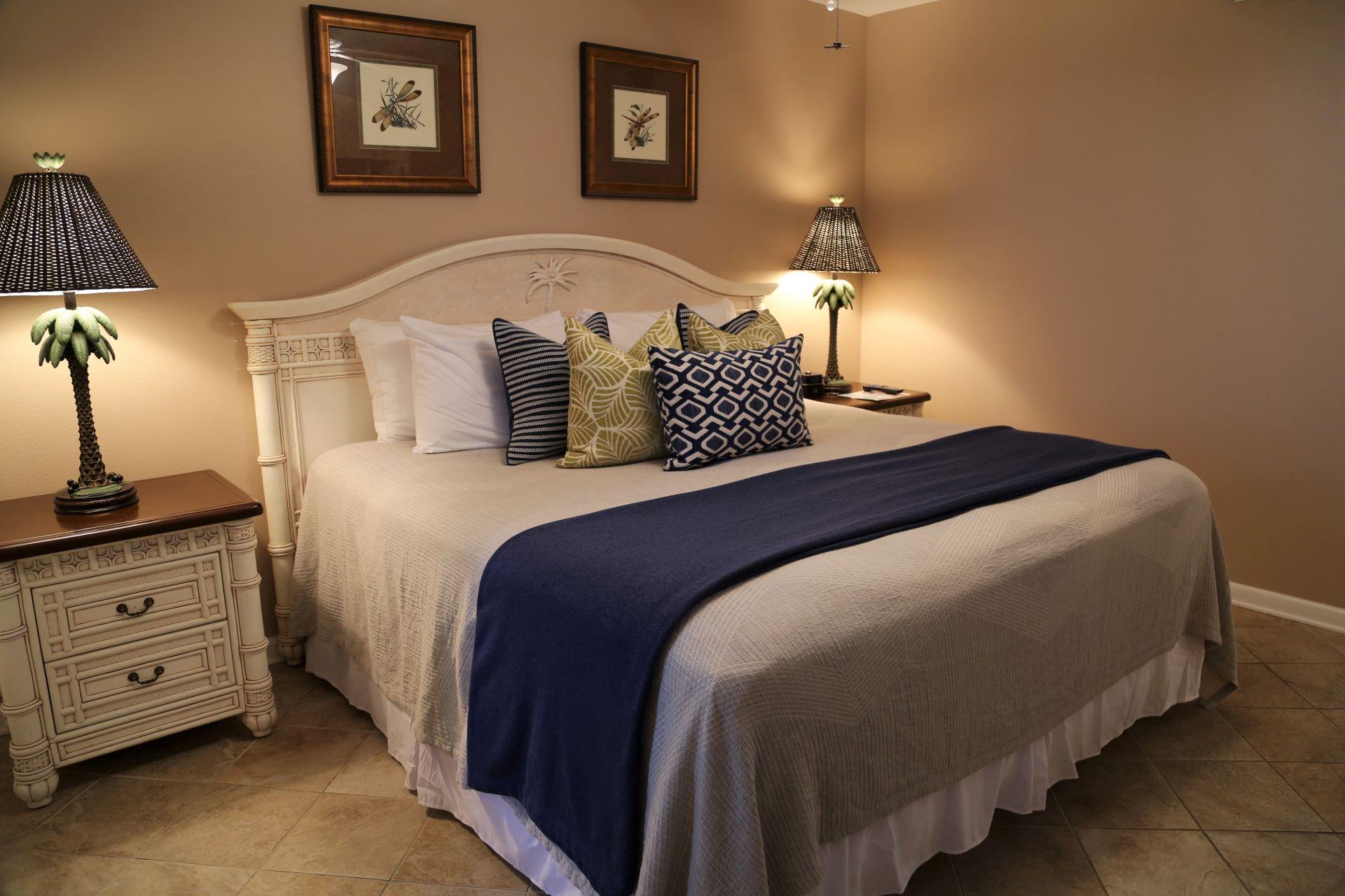 Warm hues and comfortable mattress ensures optimal rest.