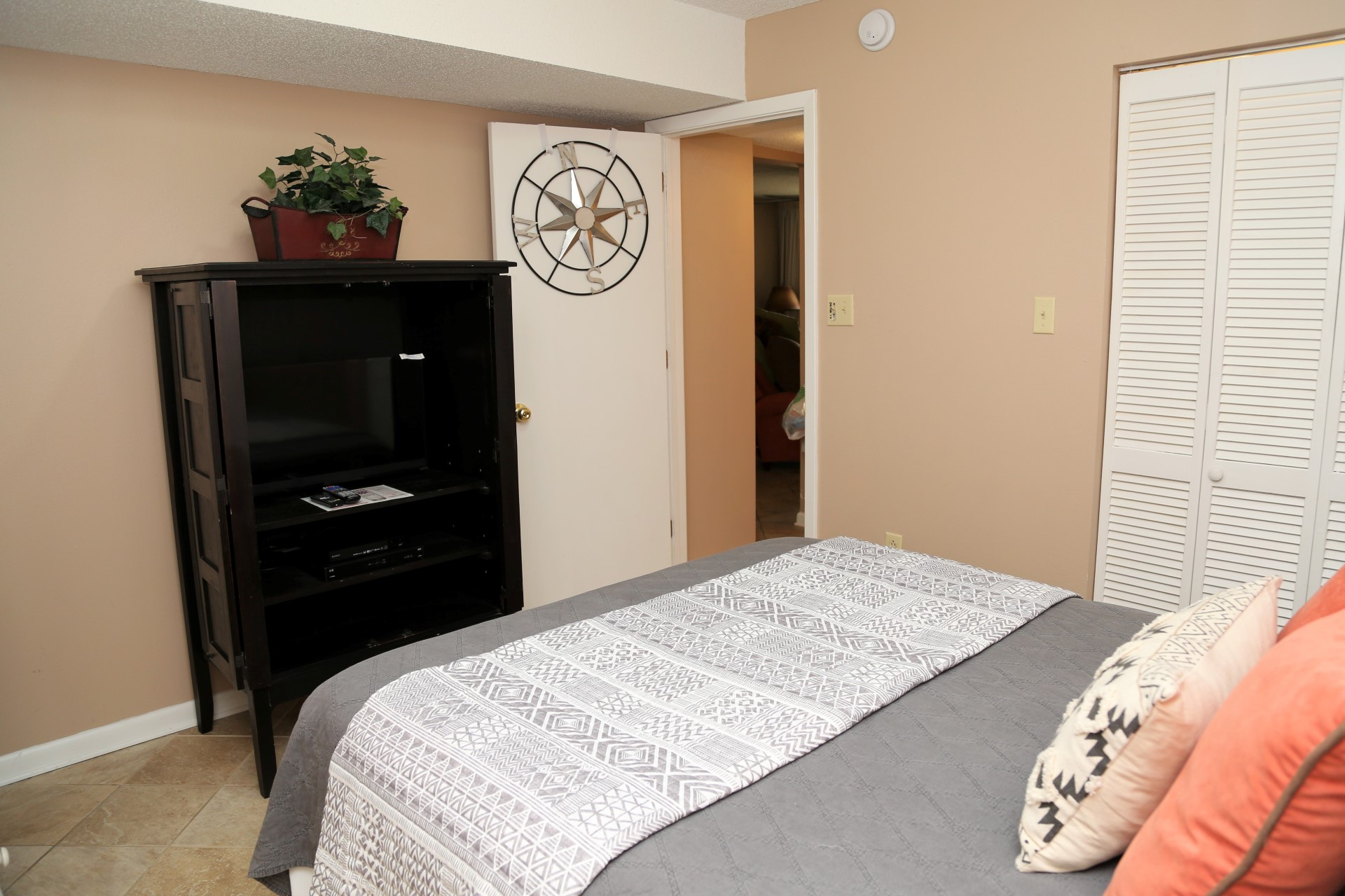 The second bedroom includes a cable TV,