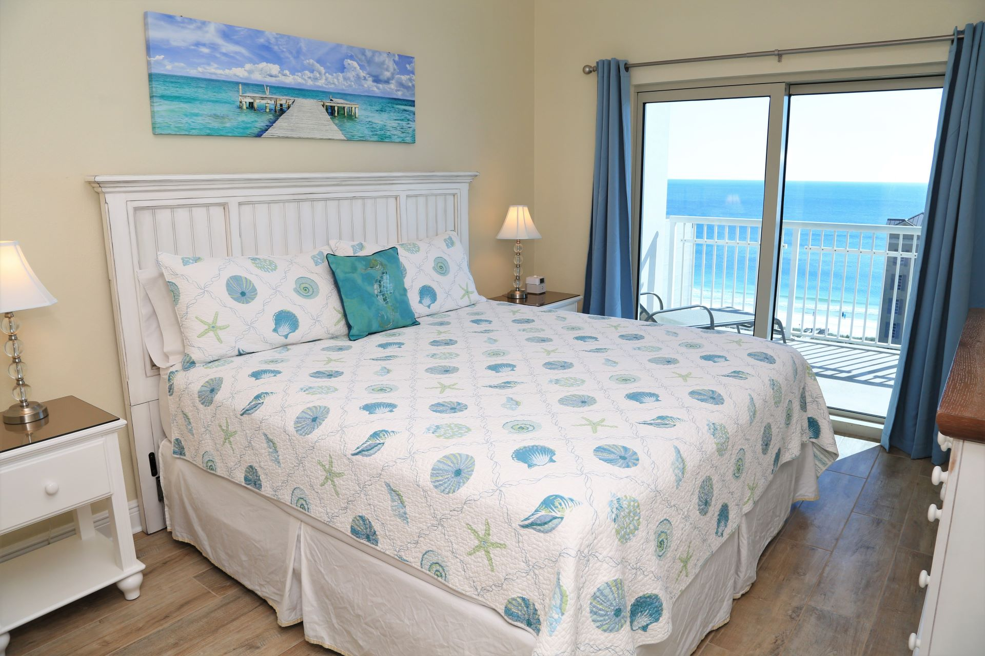 The master bedroom includes a comfy King-size bed and direct
