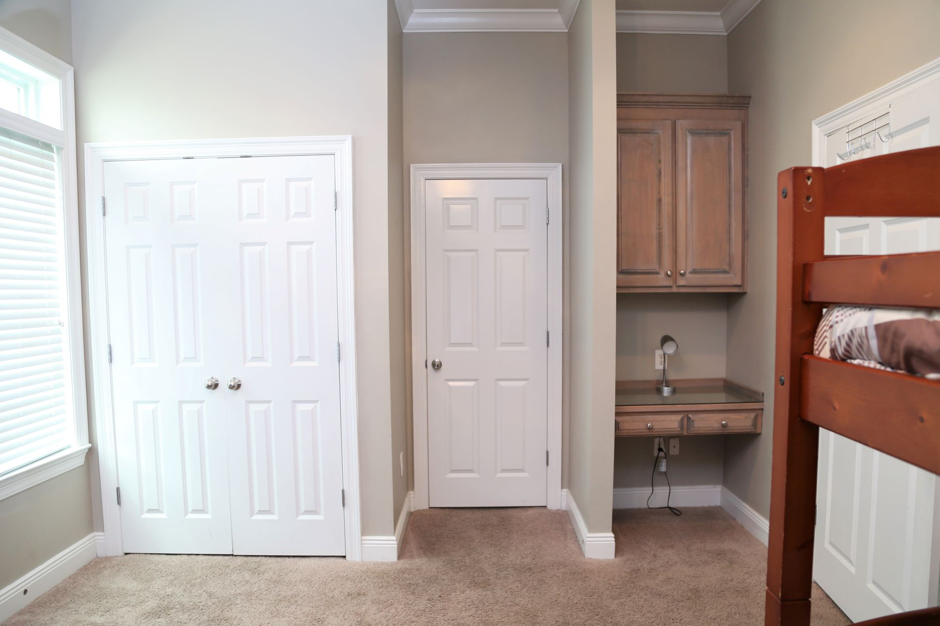The second bedroom has access to the hall bathroom and inclu