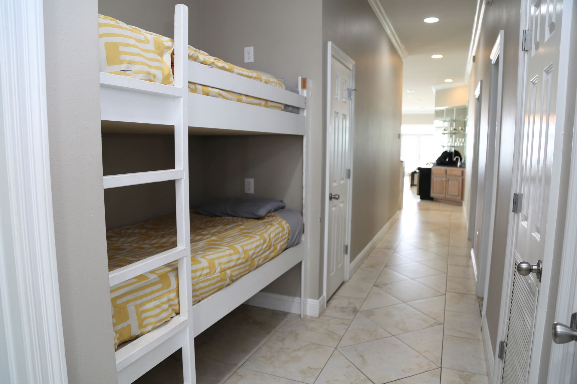 Built-in twin bunk bed located in the hallway.  Great for ki
