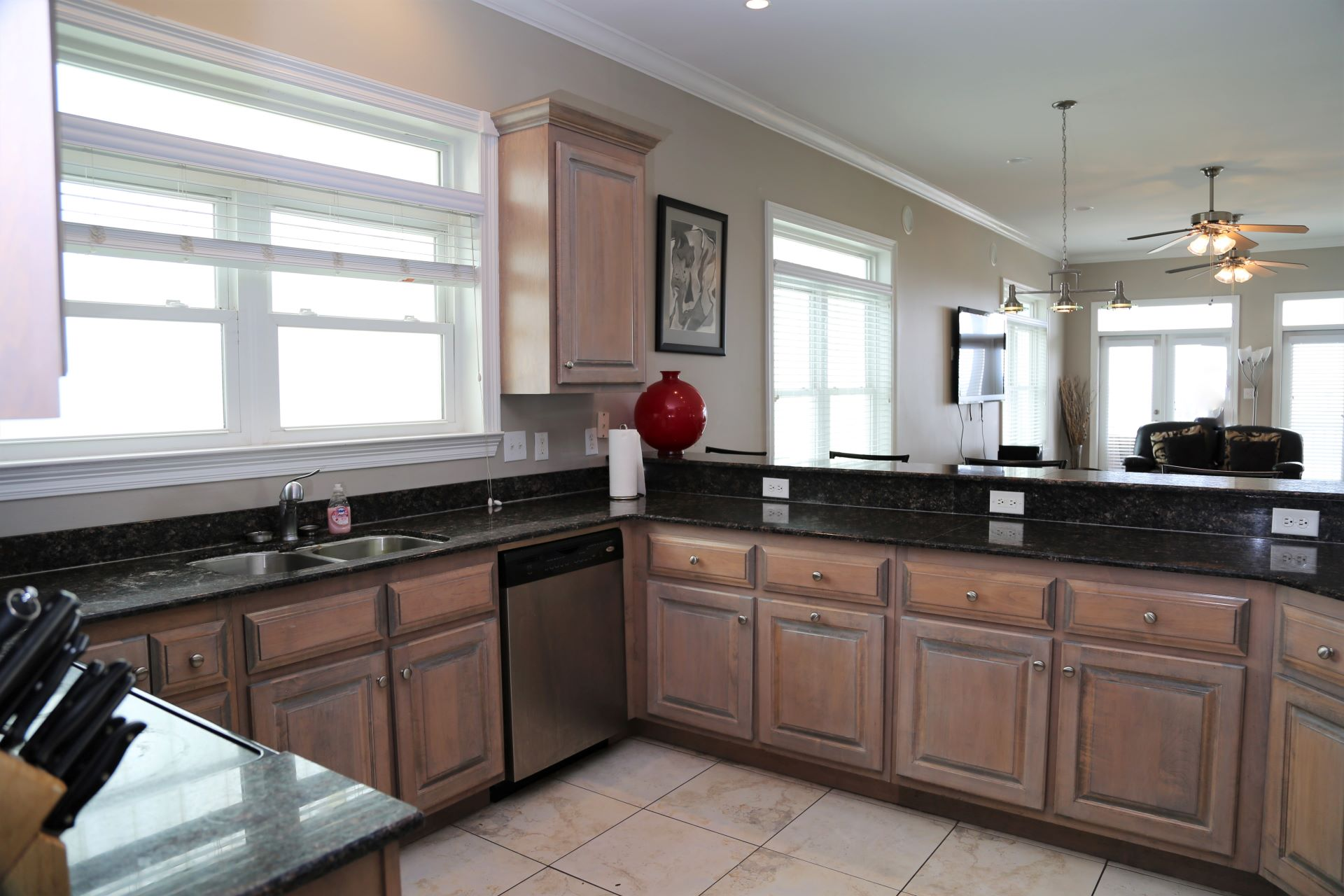 Plentiful counter space for prepping home-cooked meals.