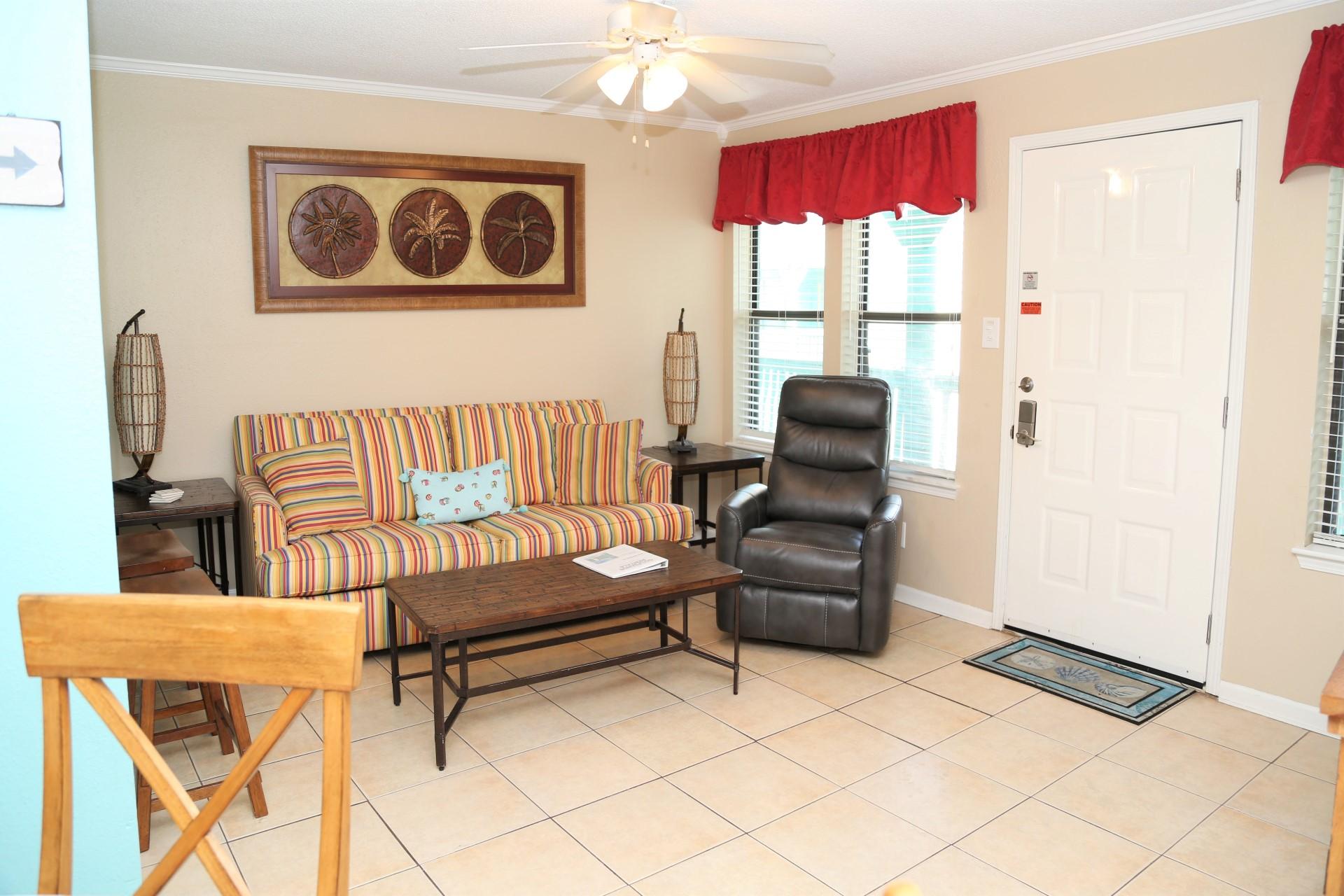 Cozy living area w/SMART 50 inch TV