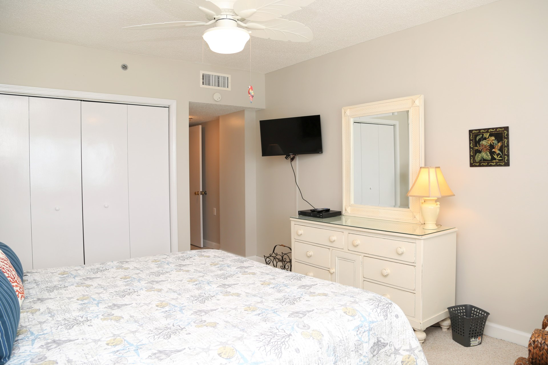 The main bedroom includes a flat screen, cable TV.