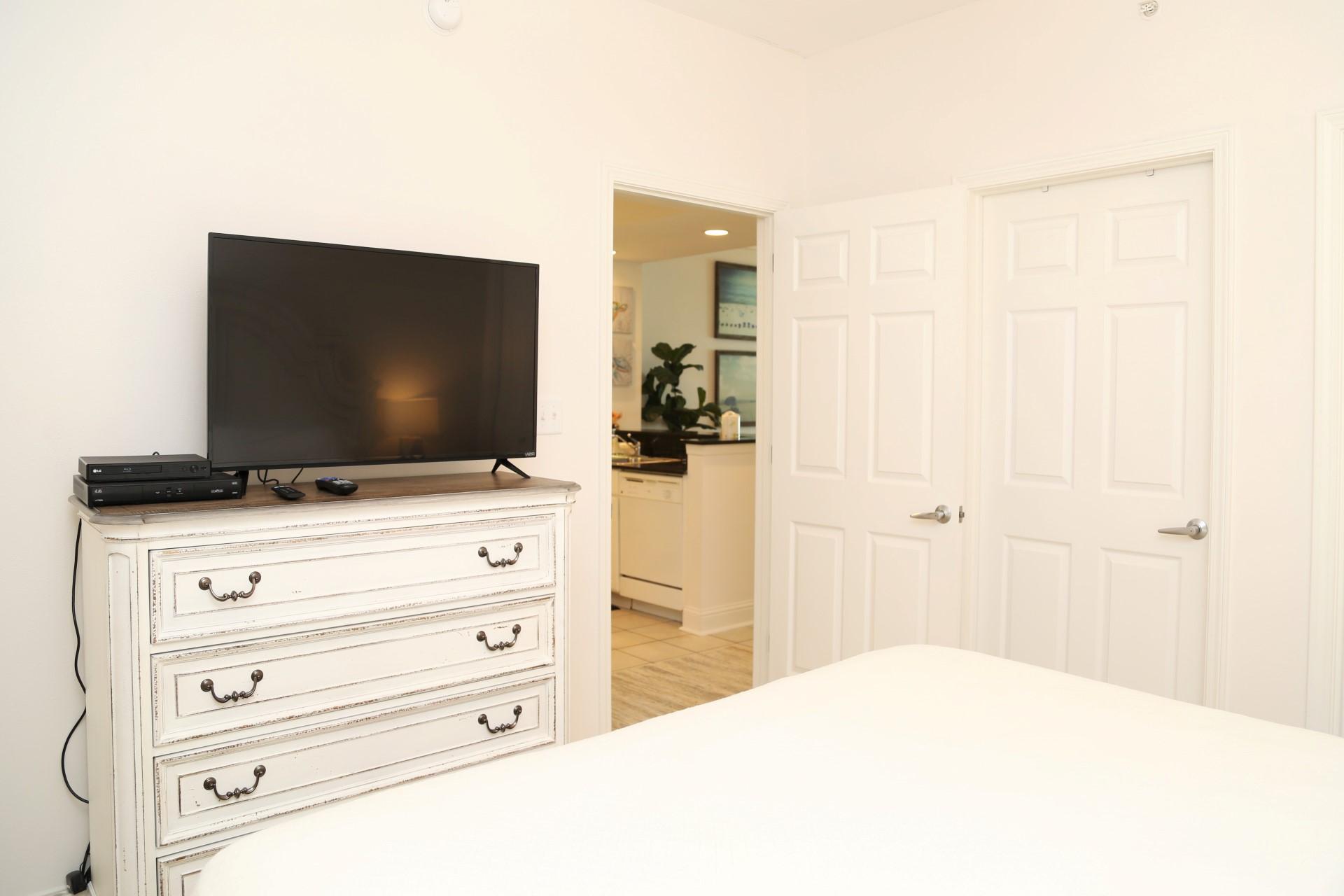 The second bedroom includes a flat screen cable TV, closet,