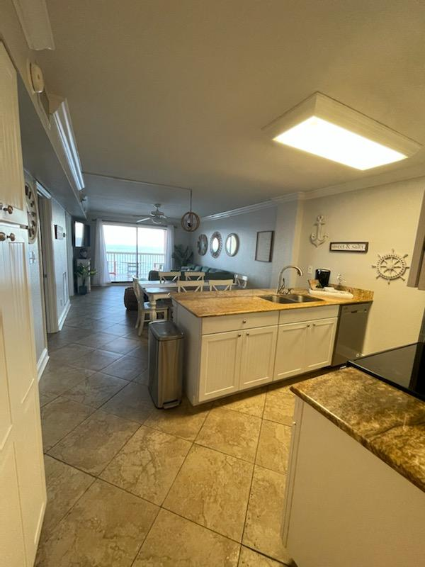 The gorgeous granite counters offer plenty of prep space!