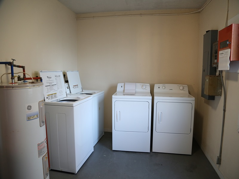 Washer and dryer rooms on every floor, credit card operated