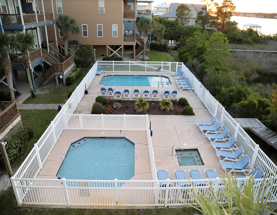 Pool deck with 2 pools and outdoor spa/hot tub!