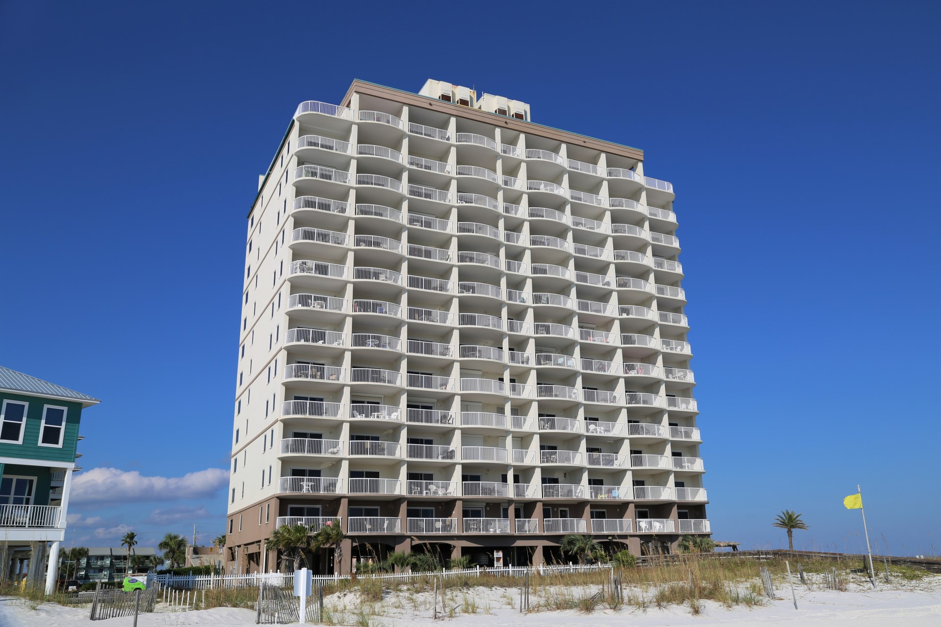 Royal Palms is directly on the beach in Gulf Shores