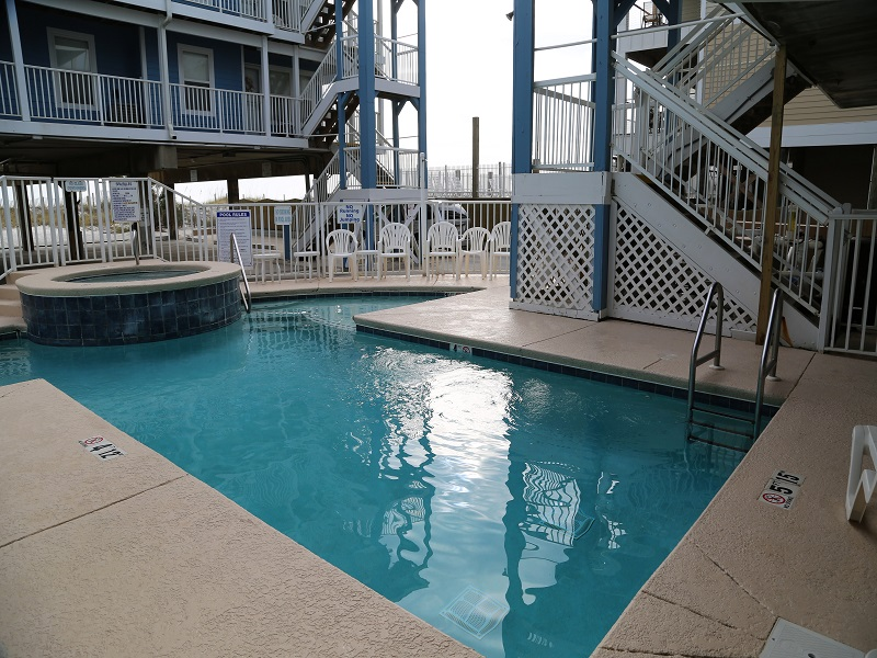 Pool deck with loungers