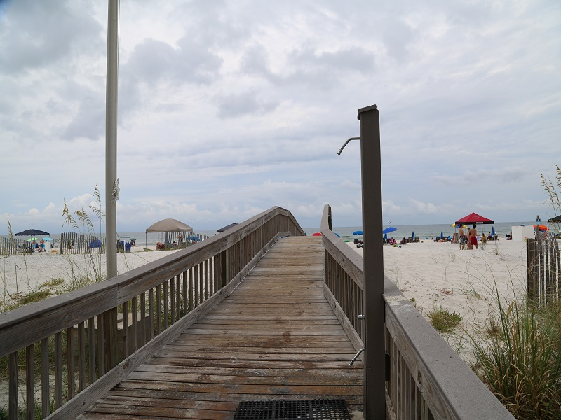 Path to beach with outdoor shower