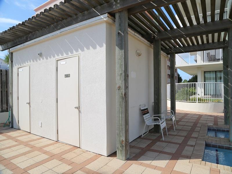 Poolside restrooms