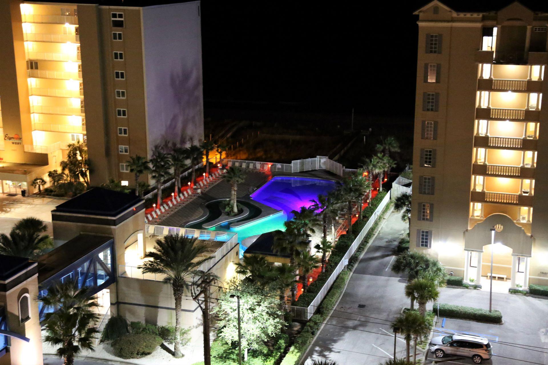 The main pool at night!